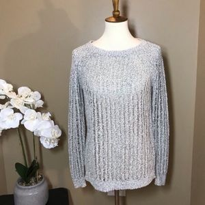 Lou & Grey Crochet Gray Sweater Small